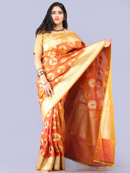 Mustard Golden Banarasi Silk Saree With Zari Work - S031704301
