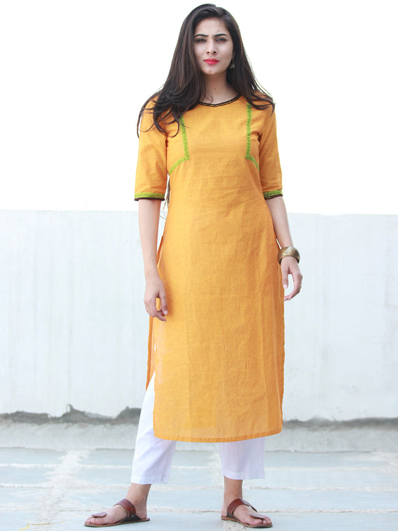 Mustard Yellow South Handloom Cotton Kurta With Embroidery Details - K165FXXX