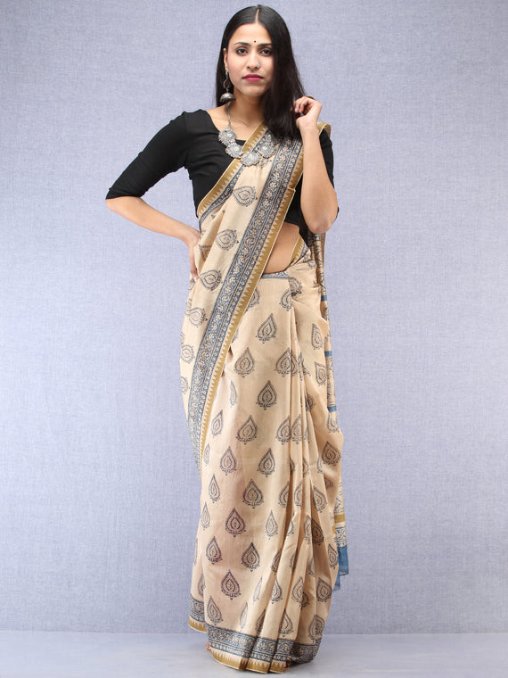 Ivory Indigo Hand Block Printed Chanderi Saree With Geecha Border - S031704492