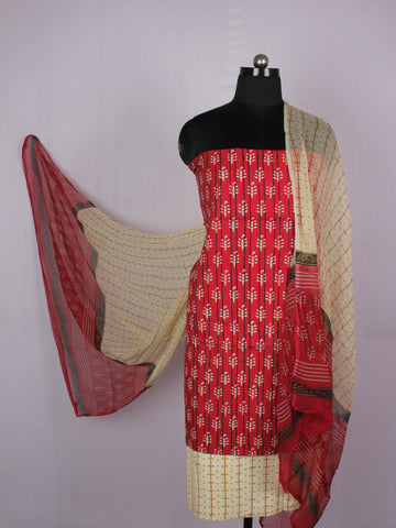 Red Ivory Beige Hand Block Printed Cotton Suit-Salwar Fabric With Chiffon Dupatta - S16281226