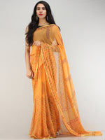 Yellow Red Hand Block Printed Chiffon Saree with Zari Border - S031704565