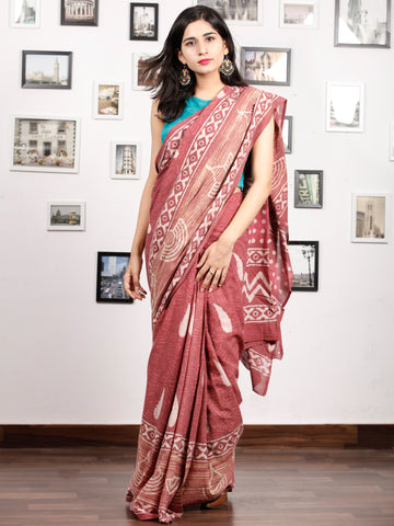 Rosewood Pink White Hand Block Printed Cotton Mul Saree - S031703173