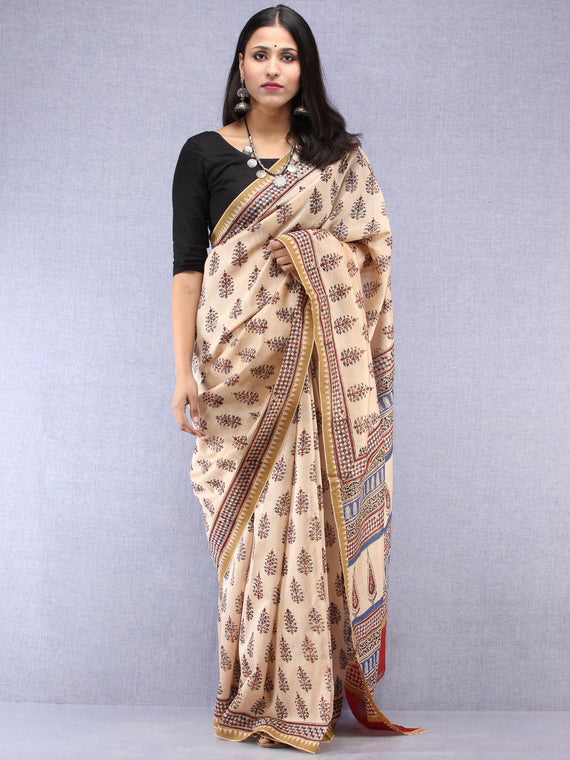 Ivory Indigo Maroon Hand Block Printed Chanderi Saree With Geecha Border - S031704520