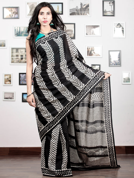 Black White Hand Block Printed Cotton Mul Saree   - S031703027