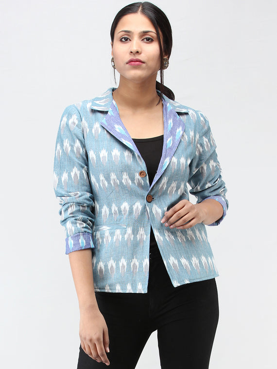Blue Grey White Hand Woven Ikat Reversible Blazer  - J12FXXX