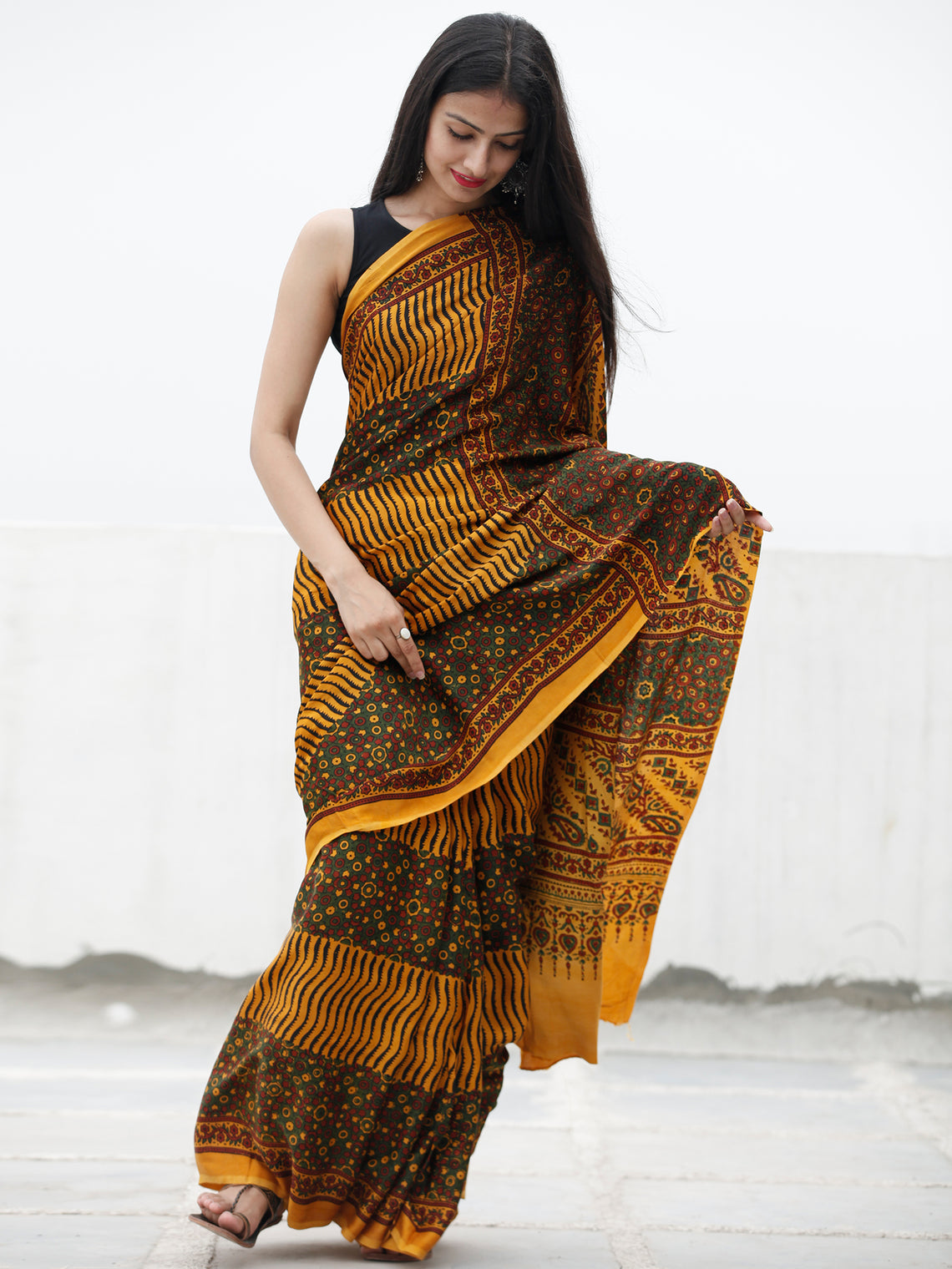 Yellow Green Black Maroon Ajrakh Hand Block Printed Modal Silk Saree in Natural Colors - S031703706
