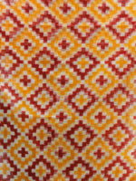 Yellow Red White Telia Rumal Double Ikat Handwoven Pochampally Cotton Dupatta -  D04170310