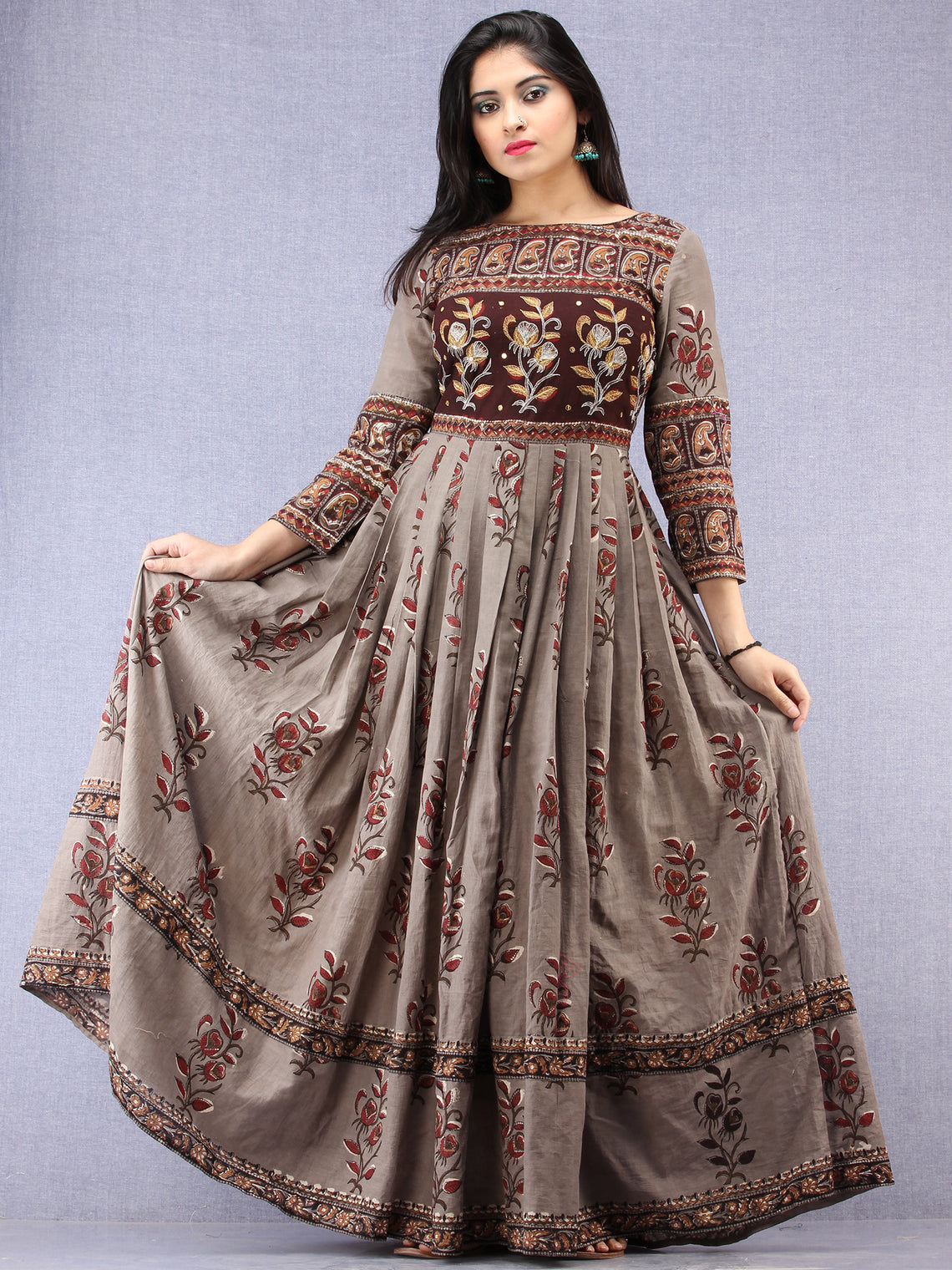 Naaz Falak - Hand Block Mughal Printed Long Cotton Embroidered Dress - DS106F001