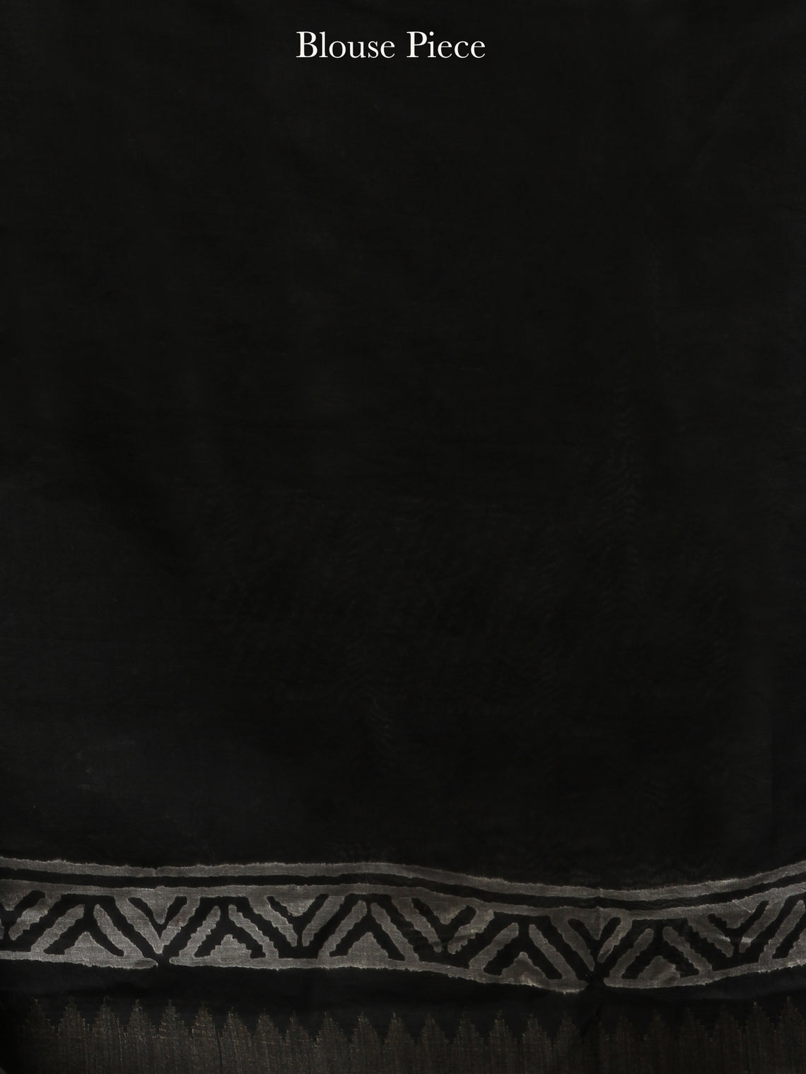 Black White Hand Block Printed Chanderi Silk Saree With Geecha Border - s031704551