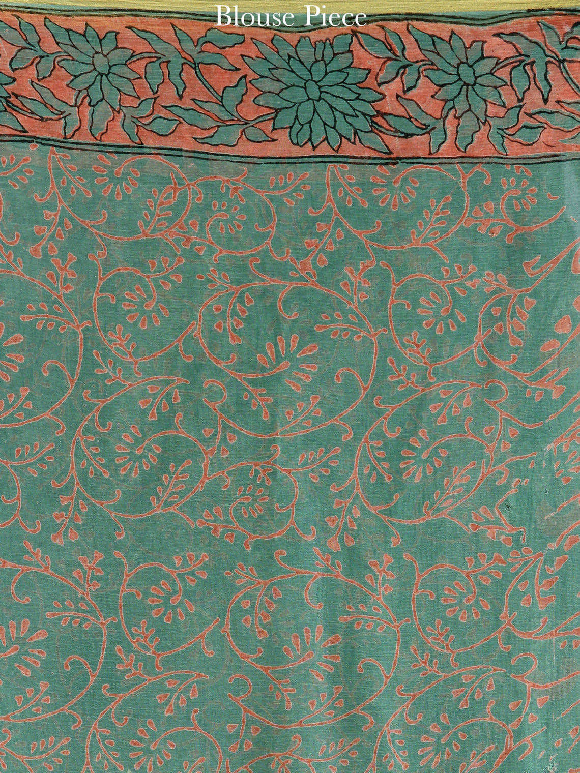 Green Coral Hand Block Printed Chiffon Saree with Zari Border - S031704596