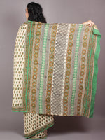 Beige Green Cotton Hand Block Bagru Printed Saree - S03170261