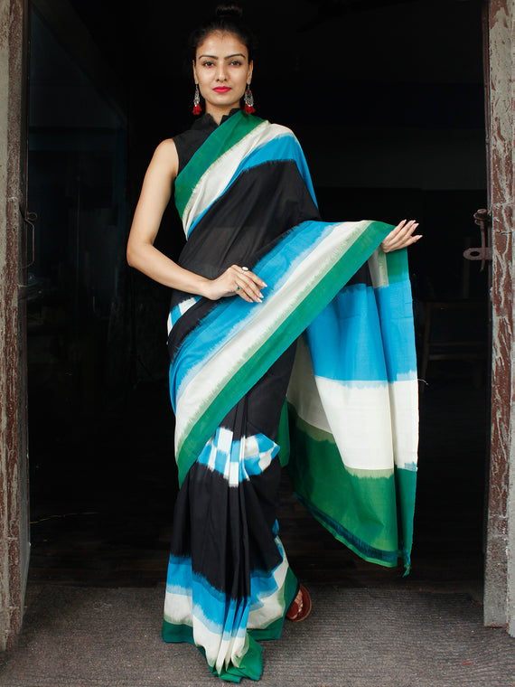 Sky Blue Bottle Green Black White Ikat Handwoven Mercerised Cotton Saree - S031703623