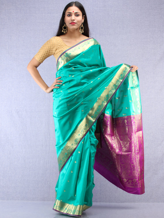 Banarasee Art Silk Saree With Zari Work - Sea green Gold & Violet - S031704414