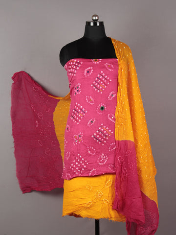 Pink Yellow White Hand Tie & Dye Bandhej Suit Salwar Dupatta (Set of 3) With Hand Embroidery & Mirror Work - S16281253