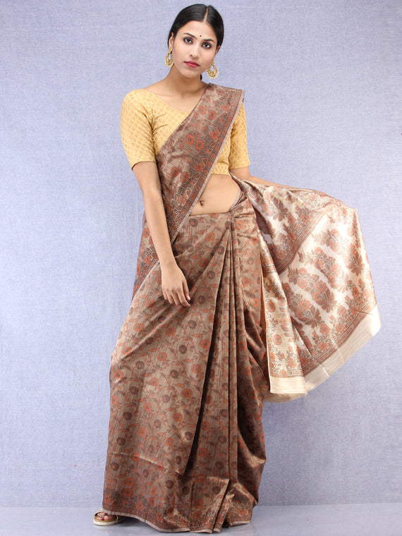 Banarasee Art Silk Saree With Resham Weaving Work - Brown & Ivory - S031704390