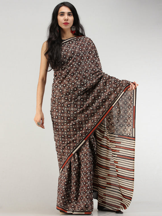 Black Rust Ivory Indigo Hand Block Printed  Cotton Mul Saree - S031704566