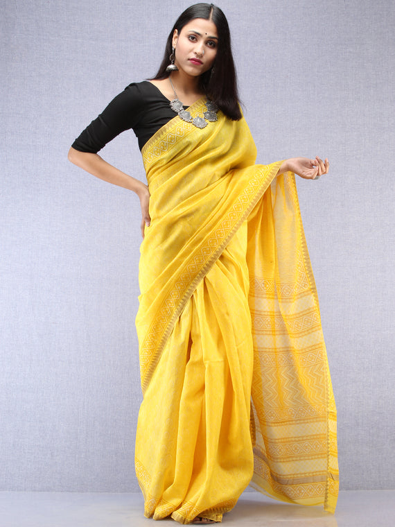 Yellow Chanderi Hand Block Printed Saree With Geecha Border - S031704493