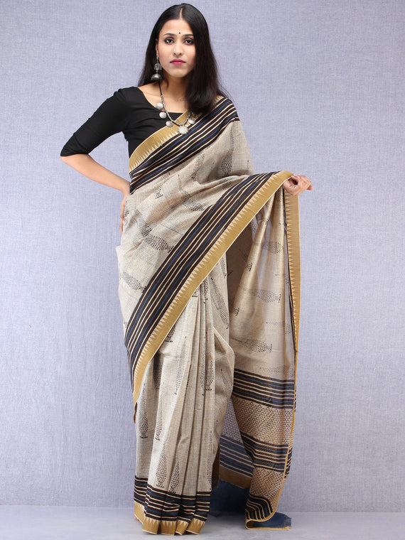 Ivory Black Indigo Hand Block Printed Chanderi Saree With Geecha Border - S031704521