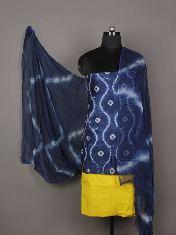 Indigo Ivory Yellow Hand Shibori Dyed Chanderi Kurta & Chiffon Dupatta With Cotton Salwar Fabric Set of 3- S1628203