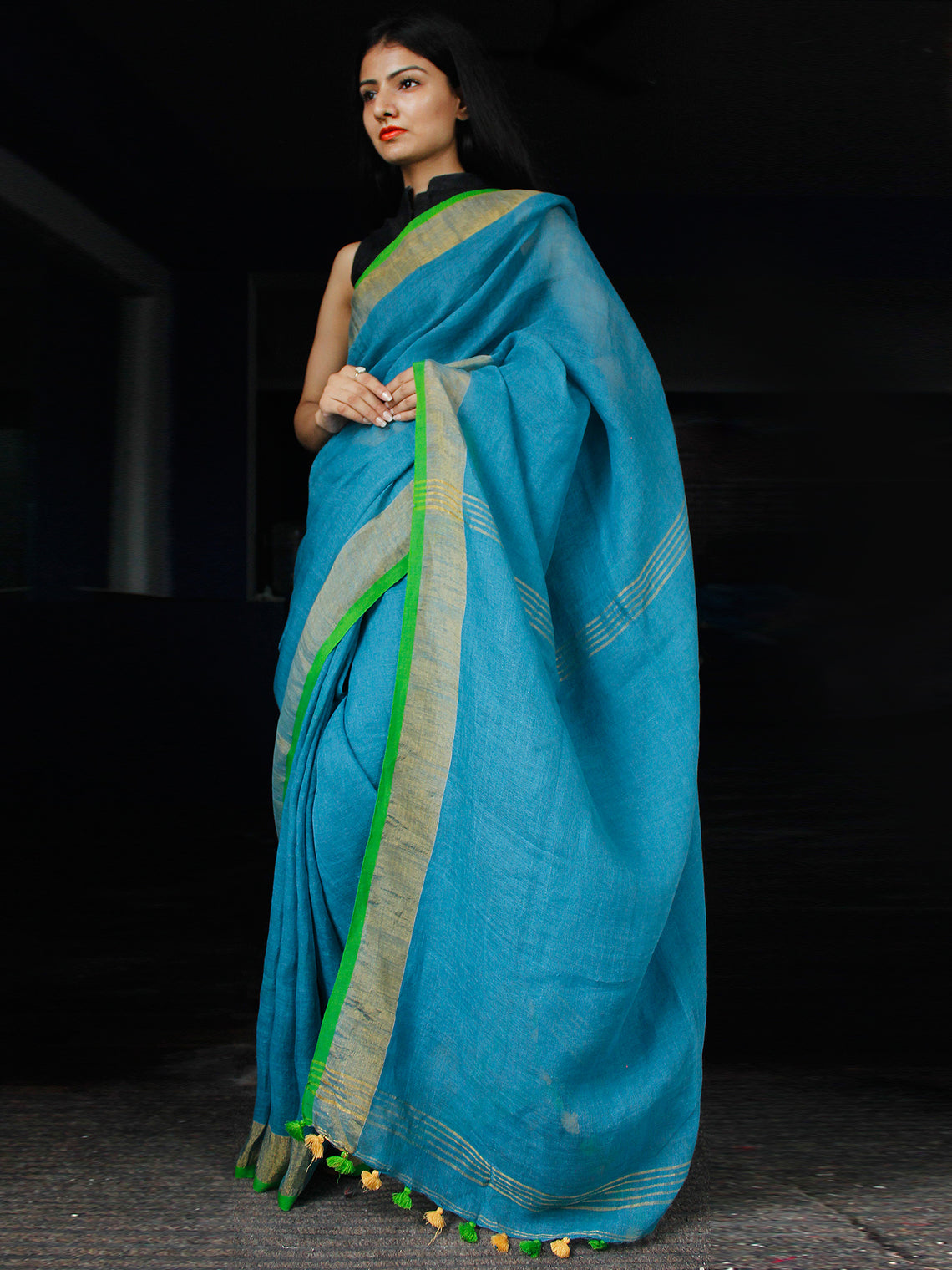 Blue Green Handwoven Linen Saree With Zari - S031703454