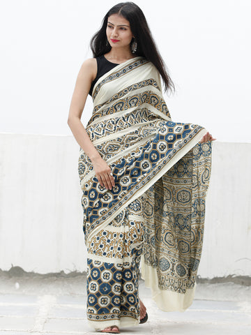 Ivory Indigo Black Brown Ajrakh Hand Block Printed Modal Silk Saree in Natural Colors - S031703707