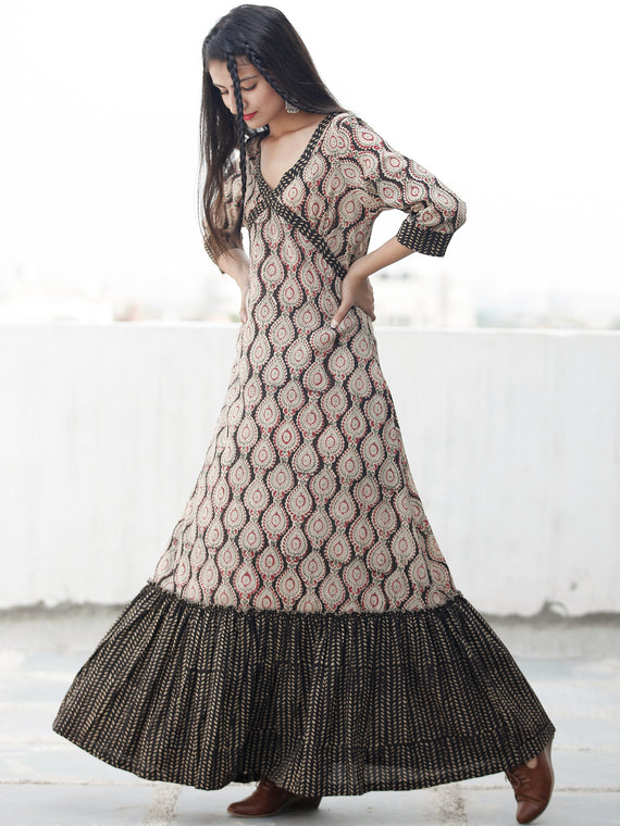 CROSS OVER - Hand Block Printed Long Cotton Dress - D343F1812
