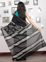Black White Grey Hand Block Printed Cotton Mul Saree   - S031703030