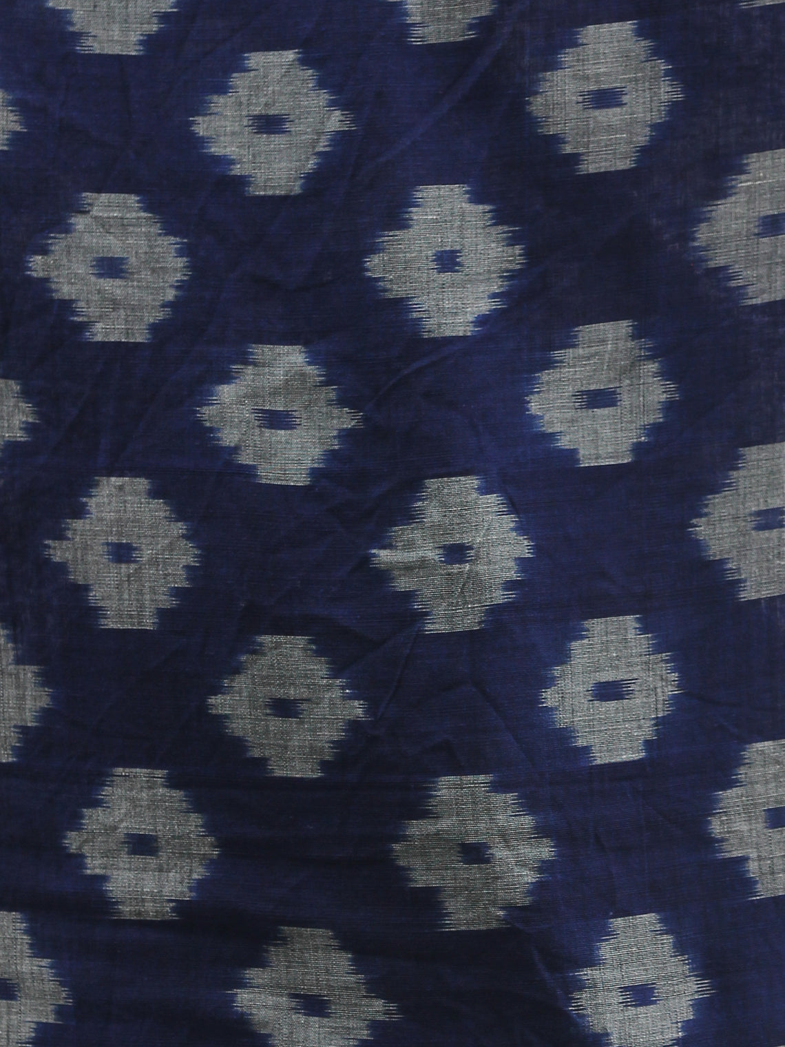 Navy Blue Red Grey Double Ikat Handwoven Pochampally Cotton Dupatta -  D04170311