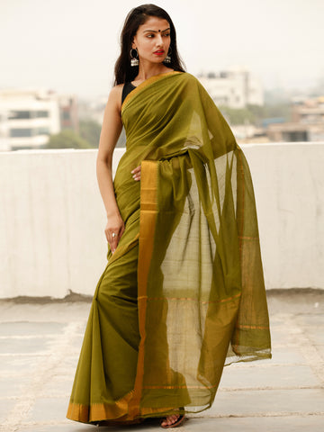 Green Handloom Mangalagiri Cotton Saree With Zari Border - S031703863