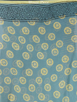 Steel Blue Yellow Hand Block Printed Chiffon Saree with Zari Border - S031704597