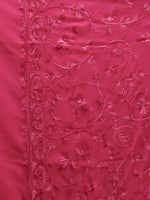 Pink Aari Embroidered Georgette Saree From Kashmir - S031704637