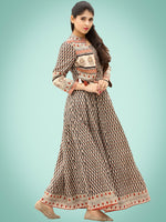 Naaz Roheen - Hand Block Printed Long Cotton Embroidered Jacket Dress - DS98F002