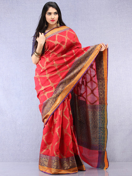 Crimson Red Purple Golden Banarasi Weave Silk Saree - S031704395