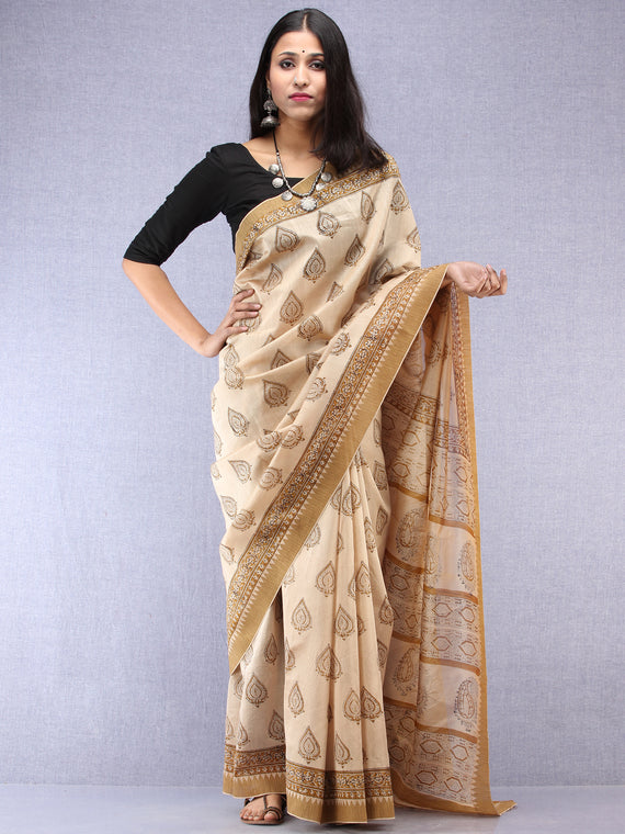 Ivory Mustard Hand Block Printed Chanderi Saree With Geecha Border - S031704522