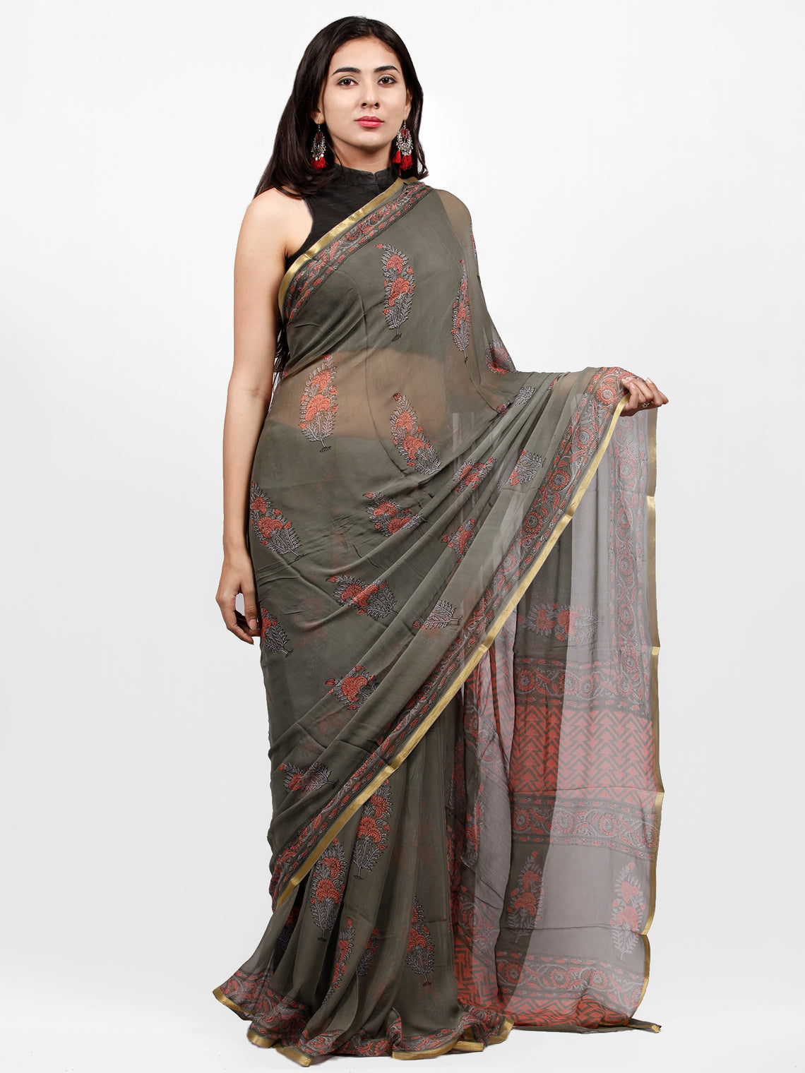 Grey Pink Hand Block Printed Chiffon Saree with Zari Border - S031703247