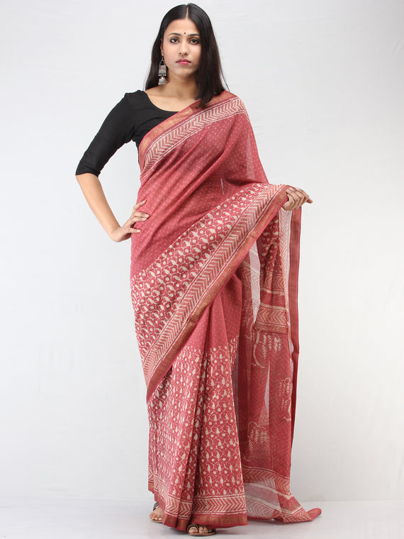 Rosewood Pink Ivory Maheshwari Silk Hand Block Printed Saree With Zari Border - S031704470