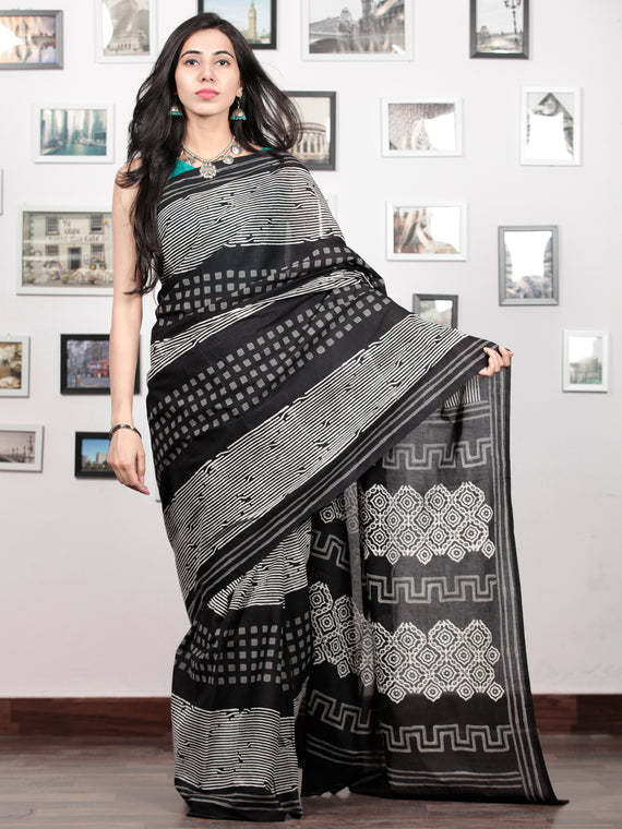 Black White Grey Hand Block Printed Cotton Mul Saree   - S031703029