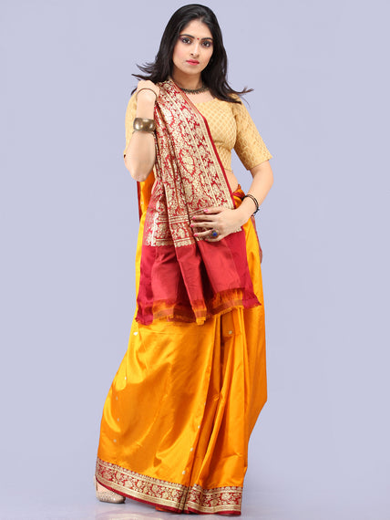 Red Mustard Golden Banarasi Silk Saree With Zari Work - S031704303