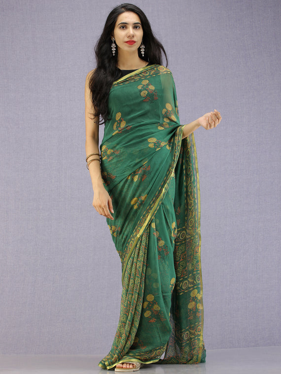 Green Yellow Coral Hand Block Printed Chiffon Saree with Zari Border - S031704598