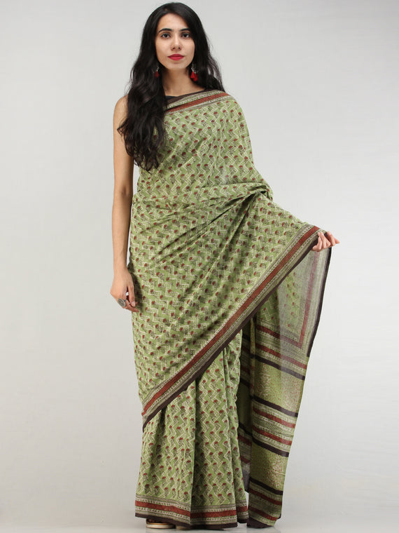 Green Rust Black Hand Block Printed  Cotton Mul Saree - S031704567