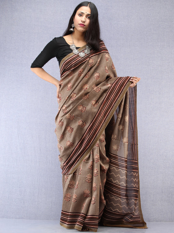 Brown Maroon Hand Block Printed Chanderi Saree With Geecha Border - S031704494