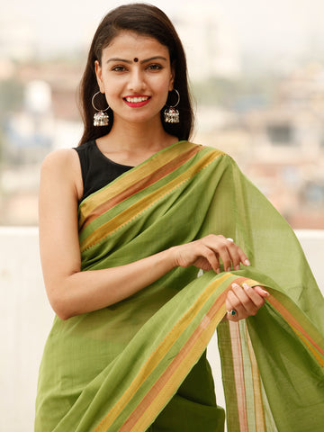Green Orange Pink Handloom Mangalagiri Cotton Saree With Zari Border - S031703864