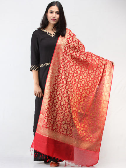 Banarasi Chanderi Jacquard Dupatta With Zari Work -  Red & Gold  - D04170929