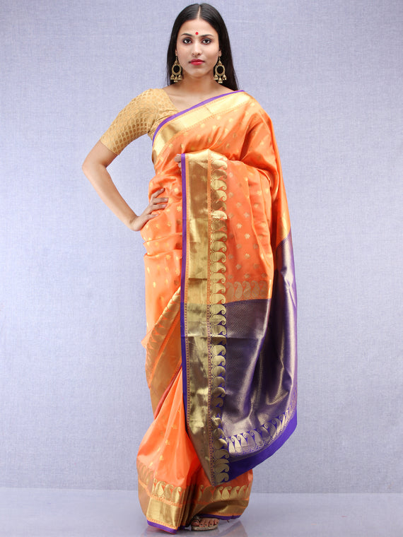 Banarasee Art Silk Saree With Zari Work - Peach Blue & Gold - S031704415
