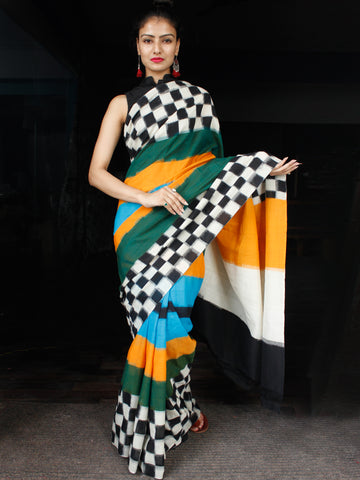 Black White Green Blue Yellow Ikat Handwoven Mercerised Cotton Saree - S031703624