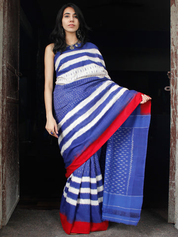 Blue White Red Double Ikat Handwoven Cotton Saree - S031703525