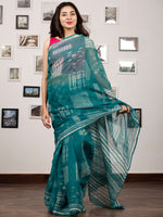 Pine Green White Hand Block Printed Kota Doria Saree In Natural Colors - S031703206
