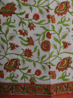 Ivory Orange Green Hand Block Printed Cotton Suit-Salwar Fabric With Chiffon Dupatta - S16281228
