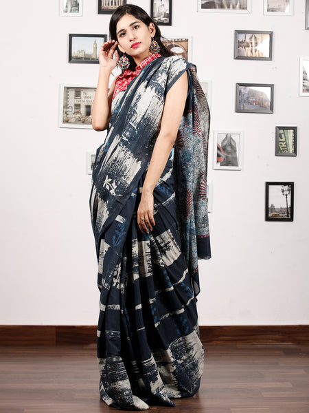 Deep Indigo Ivory Hand Block Printed & Hand Brush Painted Cotton Mul Saree - S031703174
