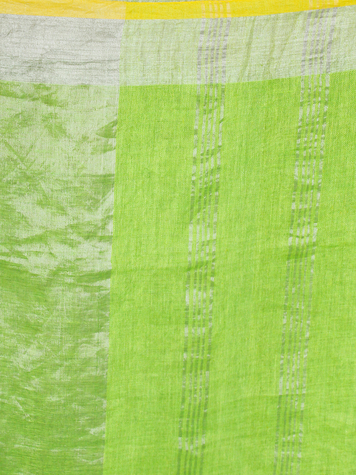 Chartreuse Green Handwoven Linen Saree With Zari - S031703455